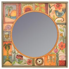 Square Framed Circular Mirror by Sticks Sticks Furniture, Circular Mirror, Arts And Crafts Furniture, Wood Mirror, Painted Mirrors, Artistic Installation, Wood Burning Patterns, Hand Painted Furniture, Round Mirrors