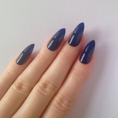 Dark Blue Stiletto nails, Fake nails, Stiletto nails, Press on... ($17) ❤ liked on Polyvore featuring beauty products, nail care, nail treatments, nails, nail polish and unhas