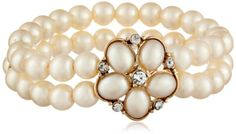 1928 Jewelry Black and White GoldTone Simulated Pearl with Crystal Accent Stretch Bracelet * Want to know more, click on the image.