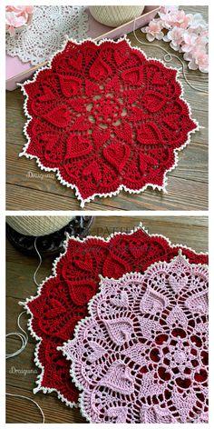Sweetheart Soiree Doily Free Crochet Pattern Crochet Bedspread Pattern, Free Crochet Doily Patterns, Tapestry Crochet, Knitting Patterns, Crochet Doilies, Arte Quilling, Crochet Patron, Crochet Decoration, Hippie Crochet
