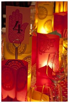 mendhi theme luminaries for sangeet - or can be switched up for a different motif