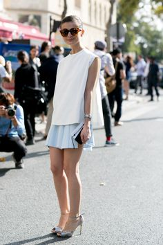 love that tennis skirt! #parisfashion #streetstyle