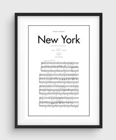 Frank Sinatra New York New York Song Music Notes by PurePrint