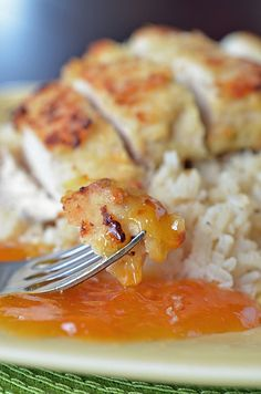 coconut chicken with apricot sauce.