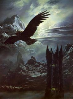 """So it was that when summer waned, there came a night of moon, and Gwaihir the Windlord, swiftest of the Great Eagles, came unlooked-for to Orthanc; and he found me standing on the pinnacle. Then I spoke to him and he bore me away, before Saruman was ever aware.      """"The Council of Elrond"""" - The Fellowship of the Ring - J.R.R. Tolkien  Ted Nasmith"""