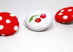 Push Pins Red and White Cherry Fabric Button by thetinybee on Etsy, $5.00