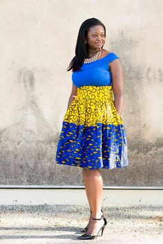 Yellow Blue Skirt;African Clothing; Yellow Blue Summer Skirt; African fashion; African Print; African Skirt; African Clothing - pinned by pin4etsy.com