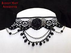 Black lace gothic choker victorian black por BloodyMaryAccesorios