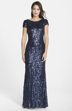 Badgley Mischka Sequin Drape Back Gown available at #Nordstrom