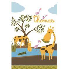 Decoloopio.com – Housse Bébé à Personnaliser : Savane  : Inédit ! découvrez la personnalisation de votre housse de couette au prénom de votre enfant.C'est sur cette adorable Housse de couette Savane en compagnie de la gentille girafe que votre enfant passera une douce nuit. . Idéal pour décorer la chambre de votre enfant – Housse de Couette Bébé