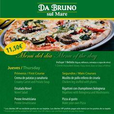 Aprovecha nuestro menú del día de hoy para probar una de nuestras deliciosas pizzas! Come and try one of our delicious pizzas with our menu of the day!