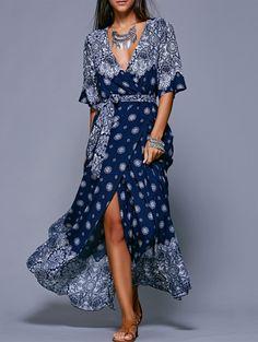 Bohemian Style Plunging Neck High Slit Tie Belt Dress