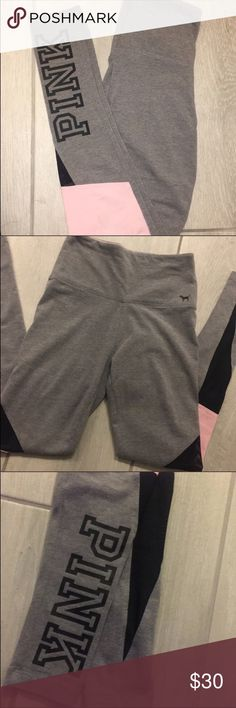 💓 PINK Leggings 💓 Size Small, Gray & Pink leggings from PINK by Victoria's Secret.   No Tags, but have never been worn. When I purchased them, I took the tags off and they sat in my drawer until they were too big for me.  Absolute PERFECT condition. No flaws, holes, rips or stains.   Bug Free, Smoke Free, Pet Friendly Home. 🏡  All offers are welcome. Bundle for even BIGGER savings! 🚫TRADES 🚫 PINK Victoria's Secret Pants Leggings