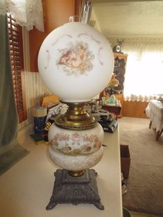 Antique E. Miller Duplex GWTW Hand Painted w/ Cherubs Oil Lamp    eBay