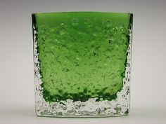 "9685 Whitefriars meadow green coloured cased ""nailhead"" glass vase. Designed by Geoffrey Baxter"