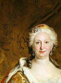 Louis Michel van Loo. Detail from Portrait of Isabel de Farnesio, 1739.