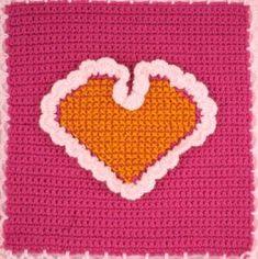 Cross Stitch Heart over crochet