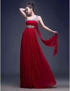 Formal Evening Dress - Burgundy A-line One Shoulder Floor-length Georgette – USD $ 49.99