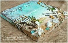Such a Pretty Mess: Beach Canvas Video Tutorial {Shimmerz Paints & Dusty Attic Designs} can be a good journal cover Seashell Art, Seashell Crafts, Beach Crafts, Beach Themed Crafts, Mixed Media Canvas, Mixed Media Art, Attic Design, Beach Art, Beach Themes