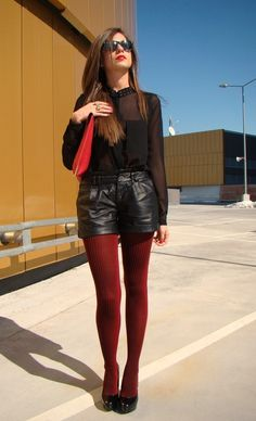 Red red red   , Zara in Shirt / Blouses, romwe in Shorts, Asos in Heels / Wedges, Asos in Clutches, Ray Ban in Glasses / Sunglasses