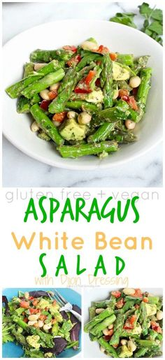 Asparagus White Bean Salad with Dijon Dressing   C it Nutritionally Refreshing, filling and full of spring flavors, this Asparagus White Bean Salad with Dijon Dressing contains plant based protein and fiber for a nourishing and filling lunch that can be made days in advance!