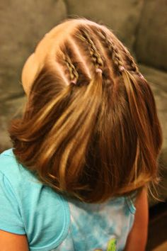 Girly Do's By Jenn: Ideas For Short Hair--- #1   This would be really cute on my 3 1/2 yr. old granddaughter :)