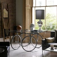 bicycle table / wheels glass / modern design / workspace workplace studio by jeanne