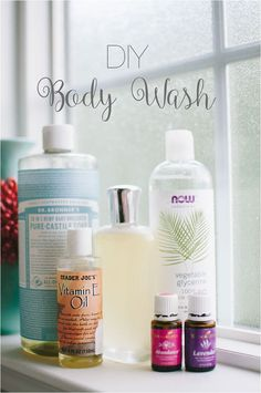 DIY Body Wash with Essential Oils http://bit.ly/mollyyleo (1) | Dr. Bronner's, vitamin E, essential oil, water