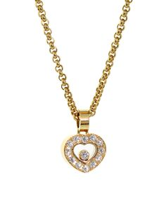CHOPARD HAPPY DIAMOND YELLOW GOLD HEART NECKLACE