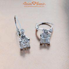Leverback drop settings - for re-setting mom's princess studs? $550 - http://www.briangavindiamonds.com/diamond-earrings/studs/princess-drops-18k-white-gold-5429w18