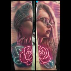 Neon Rose Lady by Ryan Tieszen - Ryan Tieszen did this tattoo at the Sioux Falls Art and Iron show put on by the Sioux Empire Pit Rescue. Best Tattoos For Women, Cool Tattoos For Guys, Dark Art Tattoo, Color Tattoo, Megan Jean Morris, Photo Realism Tattoo, Original Tattoos, Watch Tattoos, Comic Book Style
