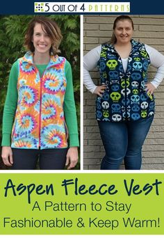 Sewing Blusas Our Aspen Fleece Vest is the perfect transitional piece between seasons. Stay fashionable and warm with this PDF sewing pattern! Fall Sewing, Love Sewing, Fleece Patterns, Sewing Patterns Free, Clothes Patterns, Sewing Hacks, Sewing Tutorials, Sewing Tips, Sewing Ideas