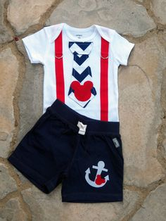 Mickey Mouse Sailor Tie and Suspender Bodysuit with Anchor Mickey Shorts for Baby Boy Birthday Disney Clothing Birthday Party Sailor Mickey