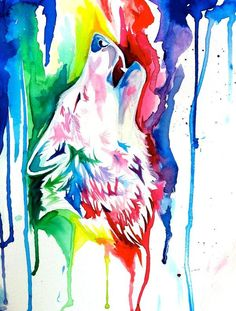 perhaps inspiration for how to use two colors for a wolf tattoo. - perhaps inspiration for how to use two colors for a wolf tattoo. Aquarell Wolf Tattoo, Watercolor Wolf Tattoo, Watercolor Animals, Watercolor Tattoo, Watercolor Paintings, Watercolour, Wolf Tattoos, Unicorn Tattoos, Celtic Tattoos