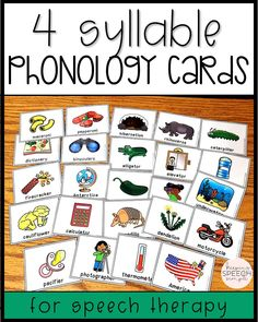 If you are looking for 4 syllable word targets for your phonology practice, these bright and engaging cards are for you! These cards are ideal for speech therapy sessions with your elementary students. Use the black lined cards to send home with families for reinforcement of skills. Just print these no prep printables to use during your speech therapy sessions. Pair these cards with your favorite games during drill work. You can also use these cards for vocabulary with mixed groups.