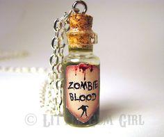 Zombie Blood - Walking Dead - Glass Bottle Cork Necklace - Potion Vial Charm - Green Black - Magic Spells. $18.00, via Etsy.