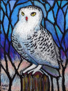 9x12 Original Snowy Owl Painting Oil Pastel by AndeHallFineArt