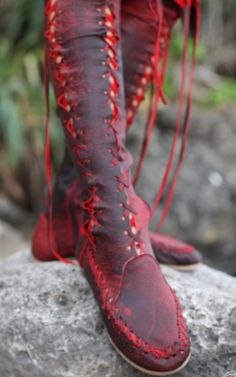 Red and Black Knee High Leather Boots [160GBP = approx 255USD] Available at:  http://www.gipsydharma.com/products/antique-red-knee-high-leather-boots