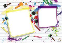 Plantilla Child 29x42 para la Creación de Foto Libros - Imagen Fondo Hoja de libreta con manchas de pintura de colores