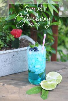 Sweet Blueberry Mojito 2oz Bacardi Rum .5oz Blue Curacao 7 mint leaves 2tsp sugar Sprite Lime wedge Blueberries + mint for garnish