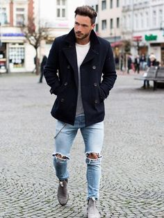 45 Yet to be Popular Winter Looks for Men (Winter is Coming) Machovibes is part of Mens winter fashion - Winter styling is nothing but styling yourself in ways that you are comfortable in, we have some amazing yet to be popular winter looks for men Cool Outfits For Men, Winter Outfits Men, Casual Outfits, Fall Outfits, Mode Masculine, Casual Look Men, Moda Formal, Style Masculin, Look Man