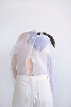 pawson-popover-white-organza-silk-top-made-in-new-york-de-smet-2 French Seam, Silk Organza, Silk Top, Mock Neck, Ballet Skirt, Ruffle Blouse, One Piece, Pure Products, York