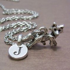 Personalized Fox Charm Necklace Fox Charm Initial by FiftyEighteen, ($15.00)