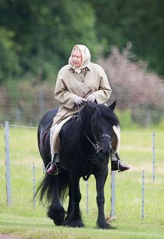 The Queen goes horse riding ahead of coronation anniversary
