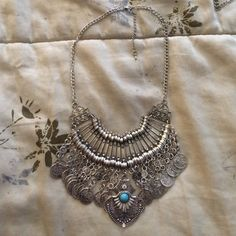 Egyptian coin necklace Handmade Silver coin necklace from Cairo egypt with turquoise detail Jewelry Necklaces