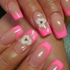 pink french manicure with white flowers