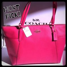 "✨COACH tote  HP BEST IN BAGS Perfect spring and summer handbag!  100% Authentic COACH AVA II pebble leather tote.  Pink Ruby color with gold hardware.  2 large exterior pockets on each side.  2 slip pockets and 1 zip pocket inside.   Measures 17"" wide across the top and tapers to 12.5"" across the bottom, 4"" deep, 10.5"" high.  Brand new with tags!  Gorgeous bag!!!  Price is firm. Coach Bags Totes"