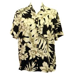 Tropical Palm shirt, Pure Silk Top, Hawaiian Blouse, Floral Silk... (47 CAD) ❤ liked on Polyvore featuring tops, blouses, short sleeve blouse, short-sleeve shirt, short-sleeve button-down shirts, collared shirt and silk hawaiian shirts