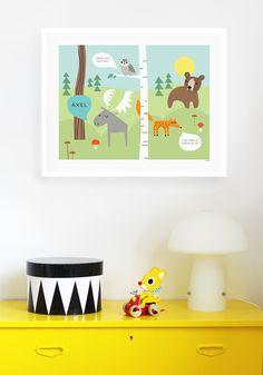 Posters, brickor och annan inredning formgiven av Isabelle Norman Sällström