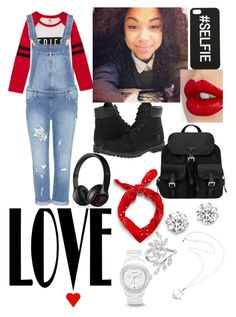 """Fries before guys"" by darrionne-r-adams ❤ liked on Polyvore featuring Paige Denim, Timberland, Prada, Charlotte Tilbury, Black Apple, Zara, FOSSIL, JoÃ«lle Jewellery, Kenneth Jay Lane and Karen Walker"